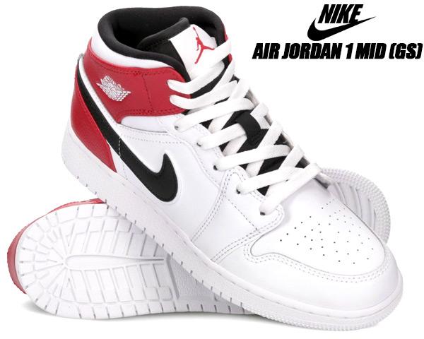 NIKE AIR JORDAN 1 MID(GS) white/black-gym red 554725-116 ナイキ エアジョーダン 1 レディース スニーカー AJ1 ウィメンズ ガールズ ホワイト ブラック ジムレッド