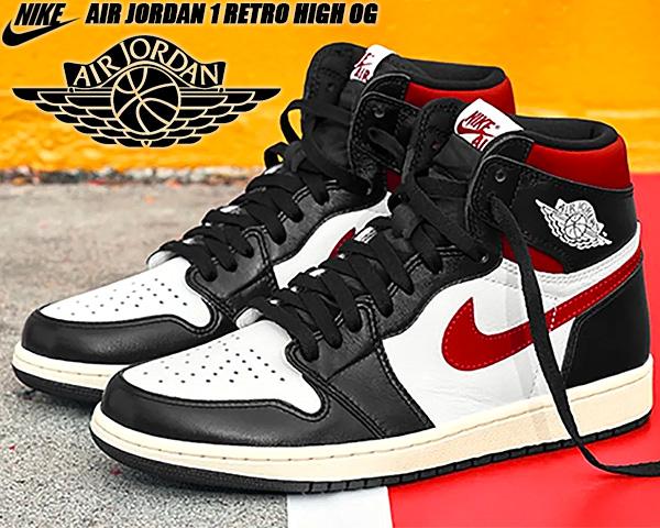 NIKE AIR JORDAN 1 RETRO HI OG black/gym red-white-sail 555088-061 ナイキ エアジョーダン 1 ハイ OG スニーカー AJ1 ジムレッド