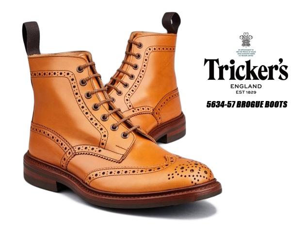 【トリッカーズ カントリーブーツ】TRICKER'S M5634 57 BROGUE BOOTS STOW C.SHADE GORSE ストウ ダイナイトソール ブローキング レースアップ ブーツ メンズ Cシェード ゴース
