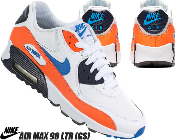 NIKE AIR MAX 90 LTR (GS) whitephoto blue total orange 833,412 116 Kie Ney AMAX 90 LTR GS Lady's sneakers girls women KNICKS