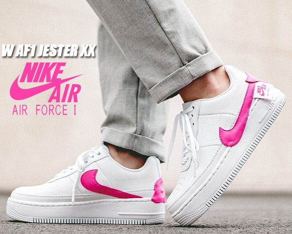 NIKE WMNS AF1 JESTER XX whitelaser fuchsia ao1220 105 Nike women AF1 Jester sneakers Lady's air force 1 AIR FORCE 1 white pink