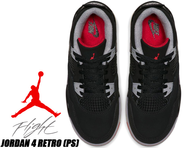 newest e2a40 e3f79 NIKE JORDAN 4 RETRO(PS) BRED black/fire red-cement grey bq7669-060 Nike  Jordan 4 BRED PS sneakers kids child shoes 16cm - 22cm bread Air Jordan AJ  IV