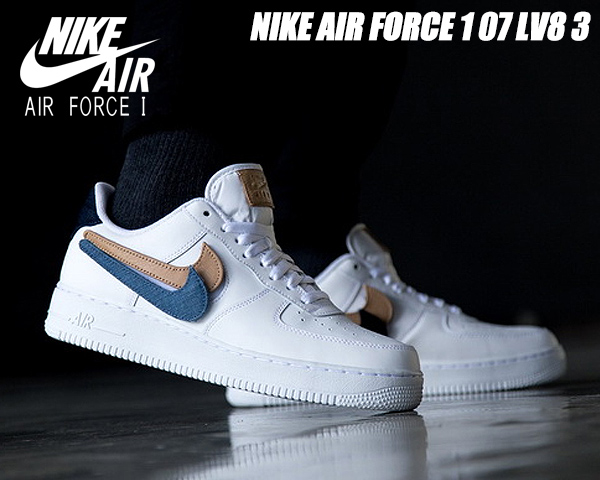 NIKE AIR FORCE 1 07 LV8 3 REMOVABLE SWOOSH whitewhite obsidian ct2253 100 Nike air force 1 07 LV8 3 sneakers AF1 ホワイトバケッタタン