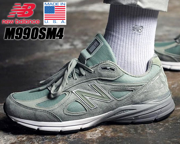 timeless design 0d530 d995a NEW BALANCE M990SM4 MADE IN U.S.A. New Balance 990 V4 sneakers mint 990  Wise D suede cloth