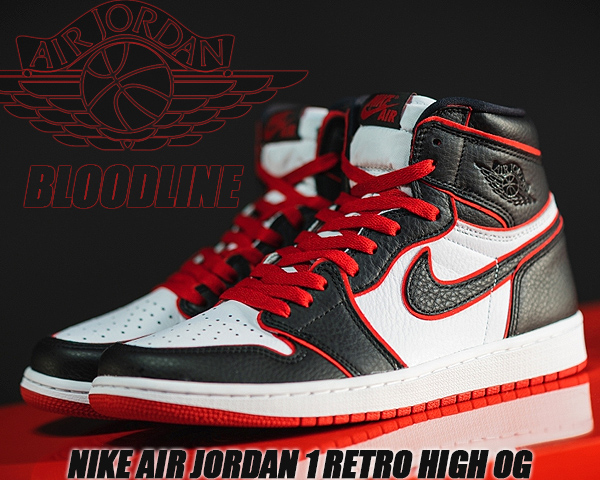 NIKE AIR JORDAN 1 HI OG BLOOD LINE black/gym red-white 555088-062 ナイキ エアジョーダン 1 ハイ OG AJ1 スニーカー FEARLESS Flight Reimagined ブラッドライン