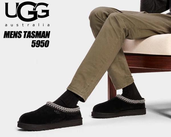 UGG MENS TASMAN BLACK 5950 アグ タスマン 5950 スリッパ スリッポン シープスキン スウェード ルームウェア
