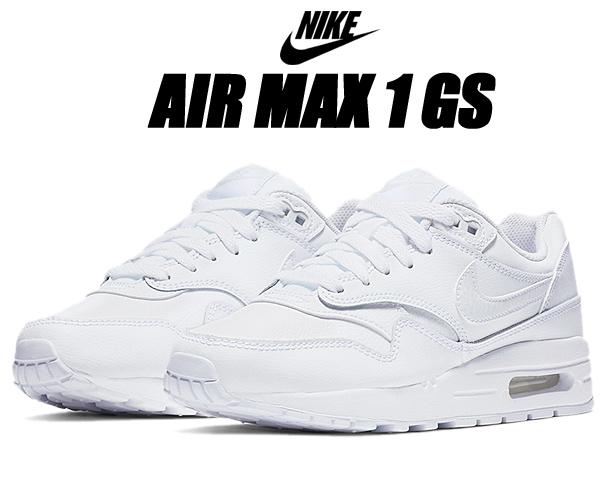 NIKE AIR MAX 1 (GS) white/white-vast grey 807605-105 ナイキ エアマックス 1 ガールズ スニーカー AM1 ホワイト レザー レディース