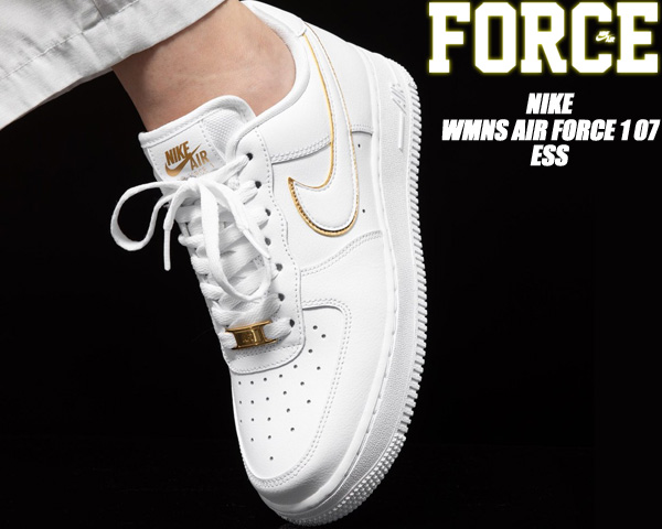 NIKE WMNS AIR FORCE 1 07 ESS white/white-metallic gold ao2132-102 ナイキ ウィメンズ エアフォース 1 07 ESS レディース スニーカー ホワイト ゴールド