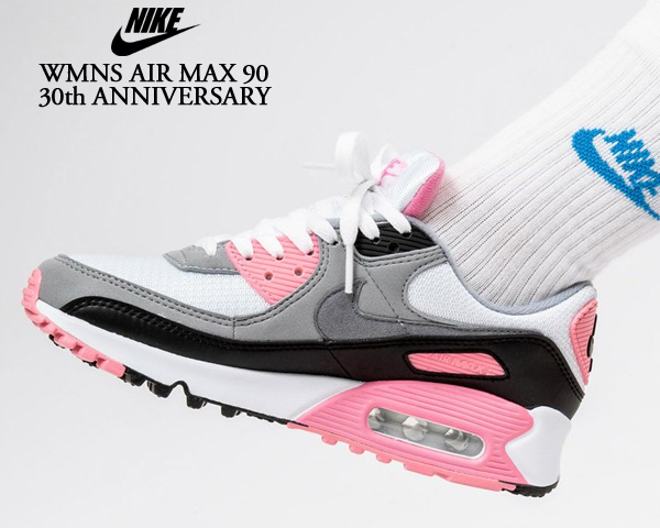 NIKE WMNS AIR MAX 90 30th ANNIVERSARY white/particle grey-rose-black cd0490-102 ナイキ ウィメンズ エアマックス 90 スニーカー レディース ガールズ AM90 ピンク 30周年