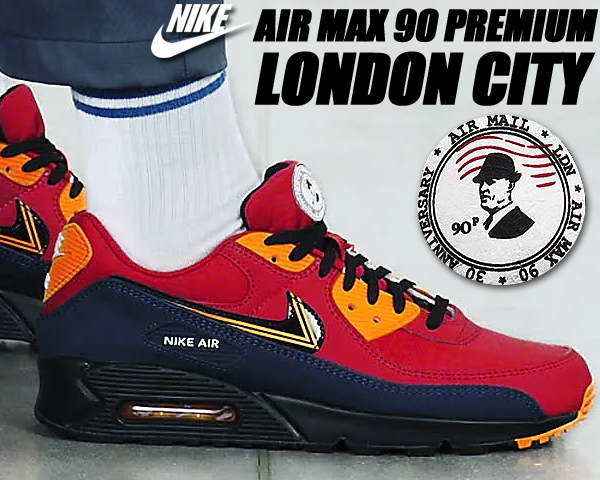 NIKE AIR MAX 90 PREMIUM LONDON CITY university red/black cj1794-600 ナイキ エアマックス 90 プレミアム スニーカー イギリス ロンドン 30周年
