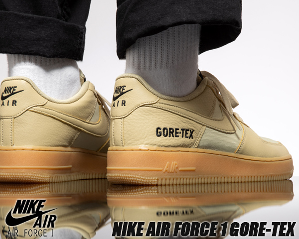NIKE AIR FORCE 1 GORE TEX team goldkhaki gold black ck2630 700 Nike air force 1 low Gore Tex AF1 water repellency waterproofing sneakers rain GTX