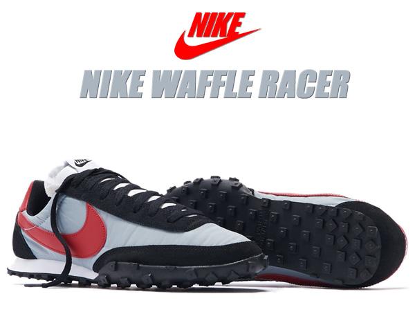 NIKE WAFFLE RACER wolf grey/gym red-black-white cn5449-001 ナイキ ワッフルレーサー スニーカー グレー レッド ブラック
