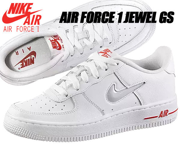 NIKE AIR FORCE 1 JEWEL(GS) white/pure platinum ct6385-100 ナイキ エアフォース 1 ジュエル GS AF1 レディース ガールズ ジュエルスウッシュ