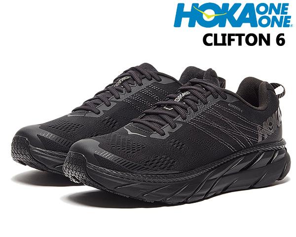 HOKA ONE ONE MENS CLIFTON 6 BLACK/BLACK 1102872 BLK ホカオネオネ クリフトン 6 スニーカー 厚底 ボリュームミッドソール オールブラック