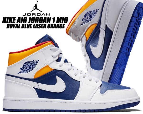 NIKE AIR JORDAN 1 MID white/laser orange 554724-131 ナイキ エアジョーダン 1 ミッド スニーカー AJ1 ホワイト ロイヤルブルー レーザーオレンジ