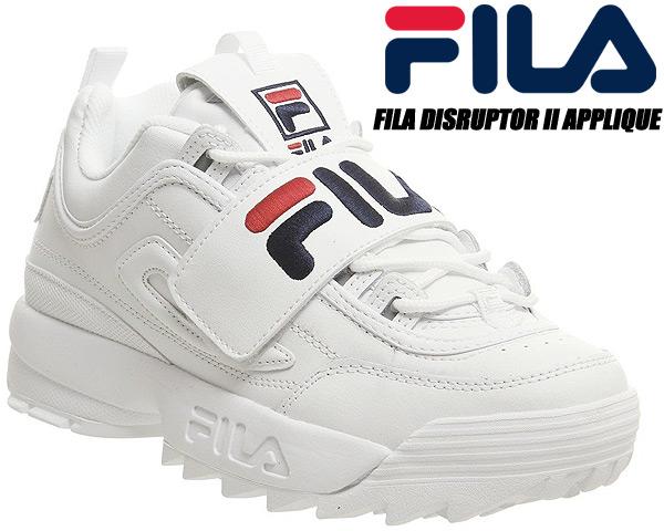 FILA DISRUPTOR II APPLIQUE White/Blue/Red 5fm00075-125 フィラ ディスラプター 2 アップリケ ウィメンズ レディース スニーカー ベルクロ ホワイト