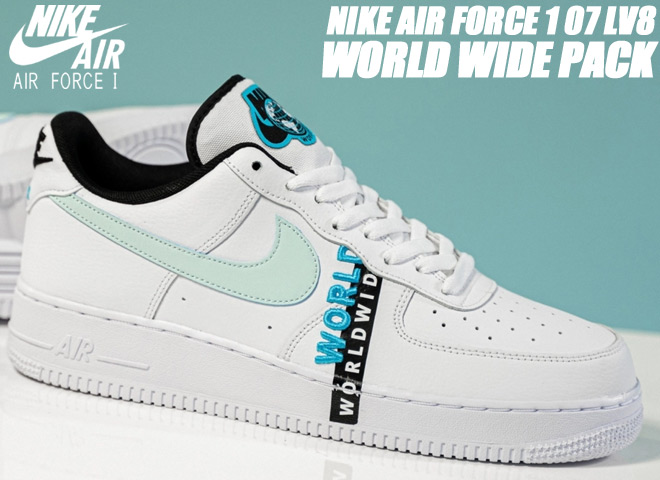 NIKE AIR FORCE 1 07 LV8 WORLD WIDE PACK white/glacier blue-blue fury ck6924-100 ナイキ エアフォース 1 07 エレベイト ワールドワイド スニーカー AF1 ホワイト ブルー WORLDWIDE