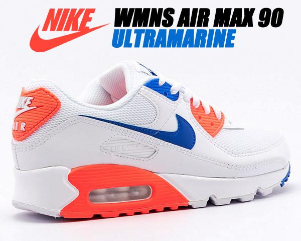 NIKE WMNS AIR MAX 90 white/racer blue-flash crimson ct1039-100 ナイキ ウィメンズ エアマックス 90 レディース スニーカー AM90 ホワイト クリムゾン