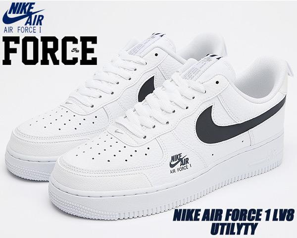 NIKE AIR FORCE 1 LV8 UTILYTY white/obsidian-lt smoke grey cw7579-100 ナイキ エアフォース 1 エレベイト ユーティリティ スニーカー AF1 ホワイト ネイビー リフレクター