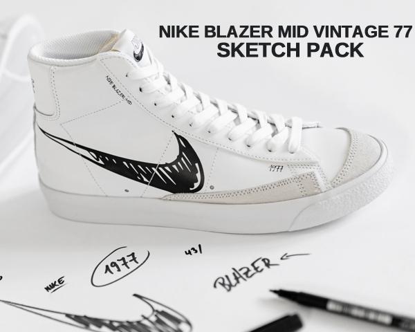 NIKE BLAZER MID VINTAGE 77 Sketch Pack white/black-platinum tint cw7580-101 ナイキ ブレザー ミッド ヴィンテージ 77 スニーカー ビンテージ スケッチ