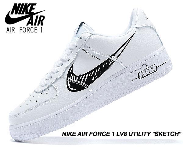 NIKE AIR FORCE 1 LV8 UTILITY SKETCH white/black-wht cw7581-101 ナイキ エアフォース 1 エレベイト ユーティリティ スニーカー AF1 ホワイト ブラック スケッチ