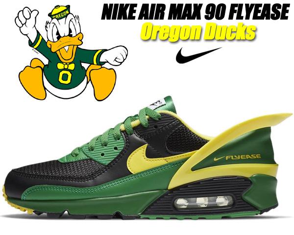 NIKE AIR MAX 90 FLYEASE Oregon Ducks black/yellow strike cz4270-001 ナイキ エアマックス 90 フライイーズ スニーカー AM90 オレゴンダックス
