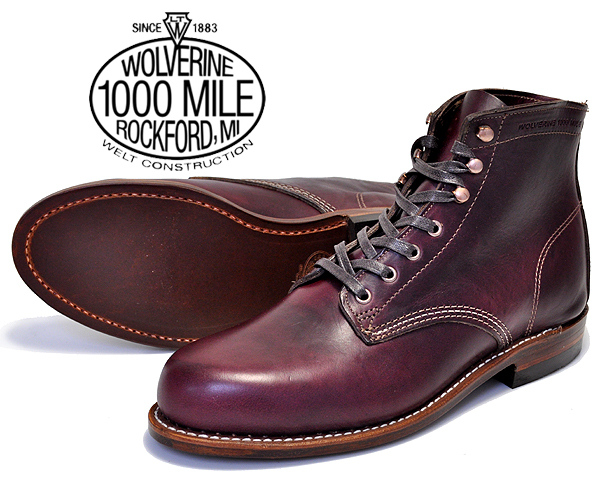 WOLVERINE 1000MILE BOOTS CORDOVAN NO.8 Horween Chromexcel Leather MADE IN USA w00137 ウルヴァリン 1000マイルブーツ コードバン クロムエクセルレザー メンズ ワーク ブーツ ウルバリン
