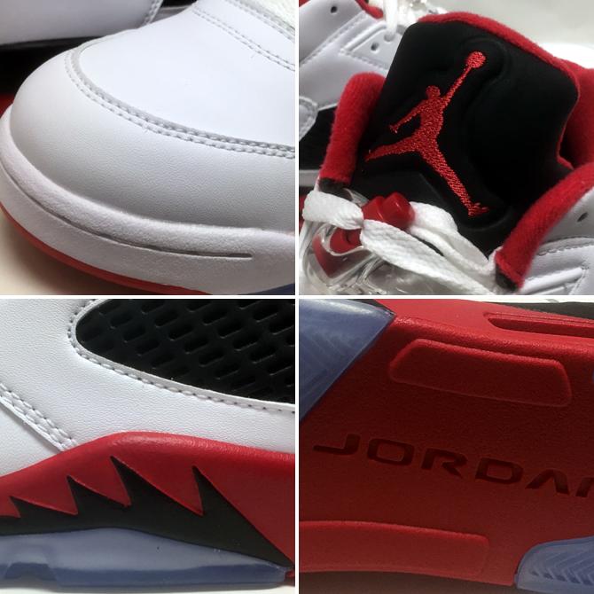 Air Jordan 5 Blanc Rétro Bas / Feu Rouge-noir f2SuIIe