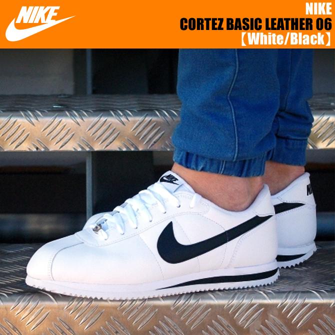 ... nike cortez basic leather 06 white black