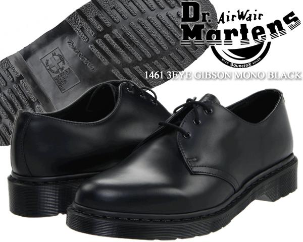 Dr.Martens 1461 3EYE GIBSON MONO BLACK 14345001 ドクターマーチン 3ホール ギブソン シューズ モノ ブラック 1461Z 3EYE GIBSON SHOE カジュアル ビジネス レザー メンズ 靴 黒
