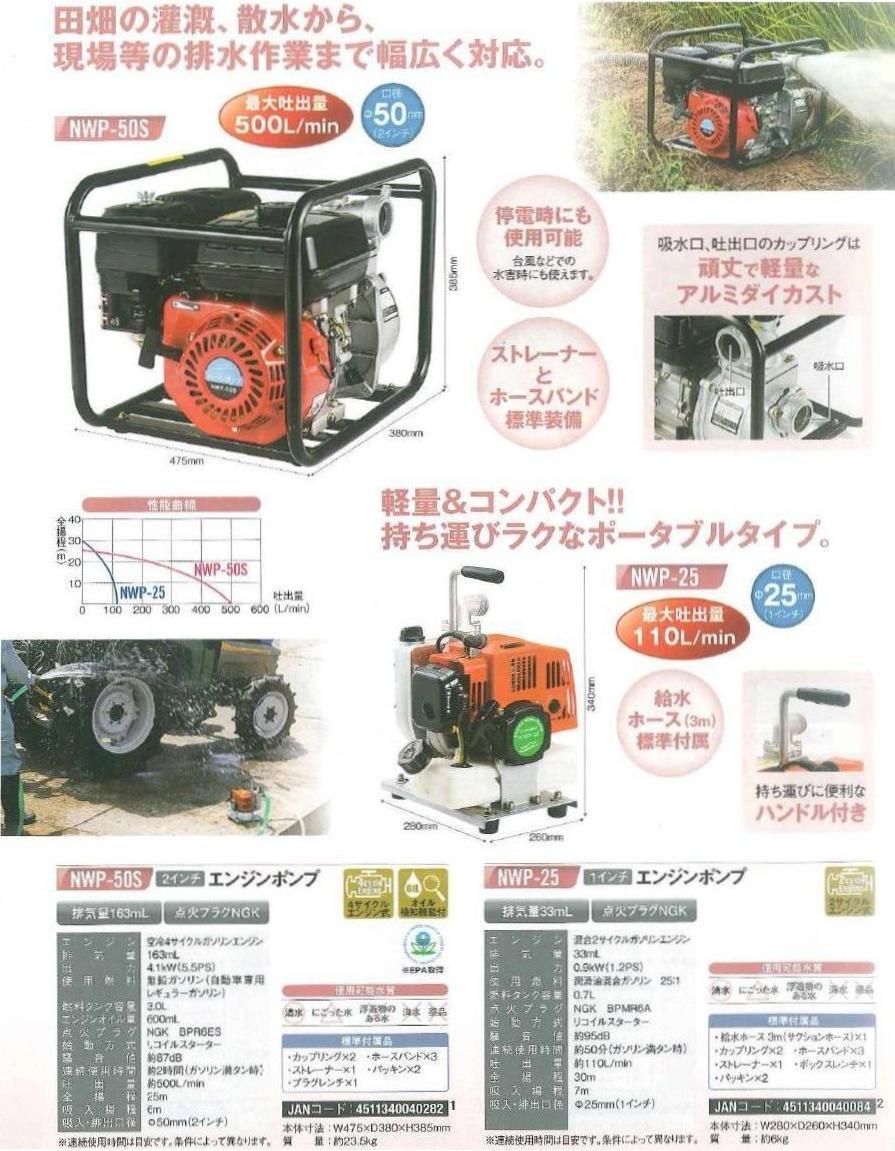 2インチエンジンポンプNWP-50S【ナカトミNAKATOMI】【送料無料】【ナカトミ2012】