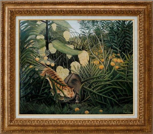 【代引不可】ジャングルでバッファローを襲う虎 ルソー【世界の名画・複製画・ポスター・レプリカ】【送料無料】【smtb-k】【w2】【FS_708-7】【H2】