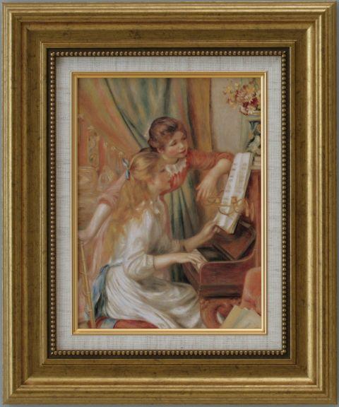 【代引不可】ピアノに寄る二人の少女 ルノワール【世界の名画・複製画・ポスター・レプリカ】【送料無料】【smtb-k】【w2】【FS_708-7】【H2】