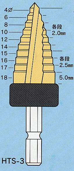 六角軸チタンステップビット HTS-3タケノコドリルステージドリル【送料無料】ライト精機 期間限定特価!