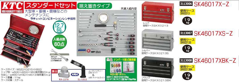 スタンダードセット 据え置きタイプ 入組点数60点 ブラック SK46017XBK-Z KTC工具セット
