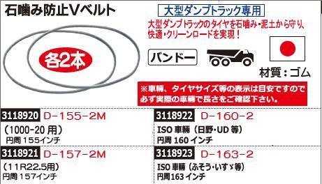 石噛み防止Vベルト 円周157インチ 各2本 D-157-2M トラック用品 【REX2018】