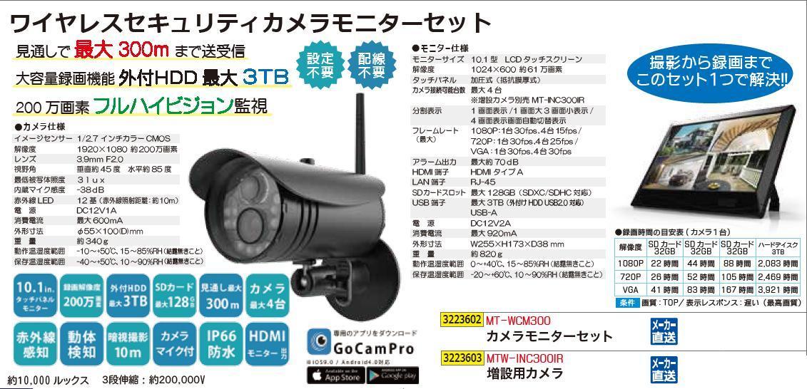 ワイヤレスセキュリティ増設用カメラ MTW-INC300IR  【REX2018】