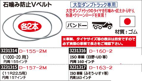 石噛み防止Vベルト 円周155インチ D-155-2M トラック用品 【REX2018】