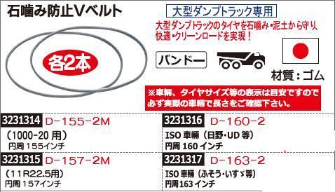 石噛み防止Vベルト 円周157インチ D-157-2M トラック用品 【REX2018】