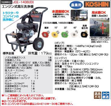 エンジン式高圧洗浄器 JCE-1408UDX KOSHIN