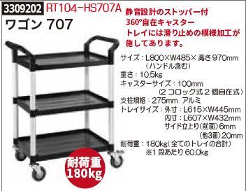 ワゴン707 RT104-HS707A 耐荷重180kg プラスチック運搬台車 棚 軽量 【REX vol.33】