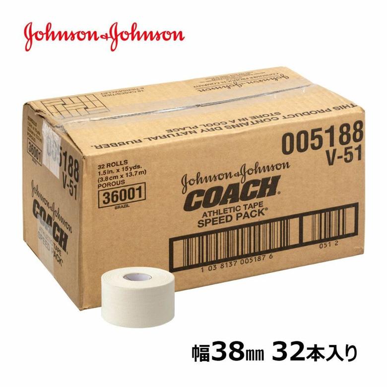 ジョンソン&ジョンソン テーピング・コーチ 38mm×13.8m 32本入り[固定テープ/J&J/ジョンソン&ジョンソン/固定タイプ/テーピングテープ/テーピング/テーピングテープ/ホワイトテープ]