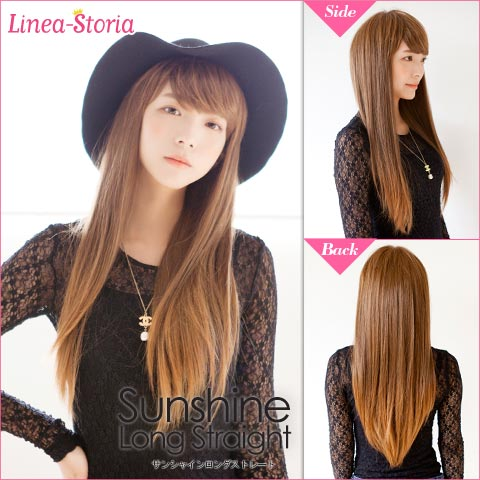 65 cm sunshine long straight full wig extensions wig wig wig meddium full wig Black Black blonde Gold Line linezolid Wick LSRV.