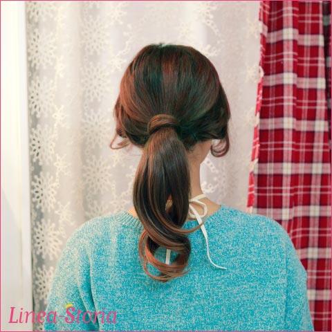 "Wig ponytail ""Putsch pony ゆる wave"" 1,480 yen ★ raven-black hair ウイッグダンスゴスロリ wedding ceremony linea-storia LSRV"