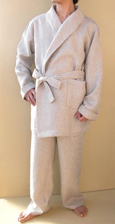 ショートバスローブ&ロングパンツ リネン ワッフル 日本製 麻100% 高級 速乾 吸湿性 暖かい 冬