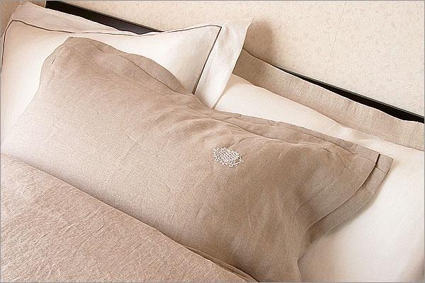 リネン 枕カバー HeartFlower 額縁Lサイズ 50x70cm 日本製 高級 フレンチリネン safilin 麻 100%