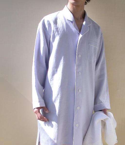 【10%OFFクーポン発行中】【送料無料】 リネン スリーパー テーラードカラー メンズ ブルー日本製 麻100% 麻 ナイティ 高級 ワンピース型 パジャマ ネグリジェ 吸汗性 速乾性