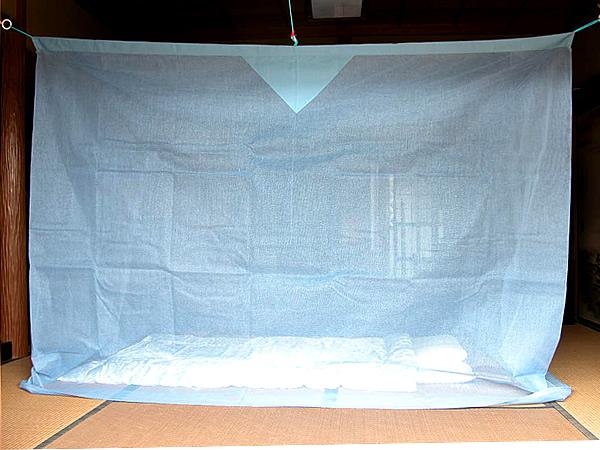 【送料無料】蚊帳 4.5畳 吊り下げ 綿 アサギ (2mx2.5m)日本製 かや モスキートネット 大人 虫よけ 虫除け 害虫防止 安眠 快眠 カヤ エコ