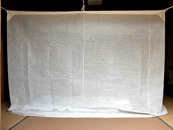 【送料無料】蚊帳 10畳 吊り下げ 本麻 キナリ (3mx4m) 日本製 かや モスキートネット 大人 虫よけ 虫除け 害虫防止 安眠 快眠 カヤ 涼しい 夏