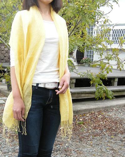草木染めのリネンストール 日本製 高級 フレンチリネン safilin 麻 100% 速乾 吸湿性 誕生日 女性に人気